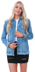 Only Blue Denim Sequins Back Denim Jacket