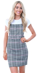 Missi Lond Pink Checked Pinafore Dress