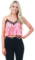 Glamorous Pink Red / Multi Lace Detail Crop Top