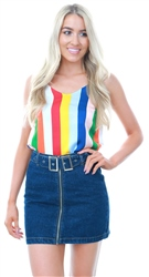 Qed Rainbow Stripped Sleeveless Cami Top