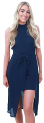 Ax Paris Navy High Neck Dipped Hem Dress