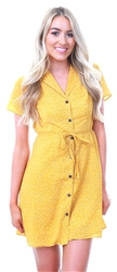 Qed Yellow Spotted Button Up Waist Tie Dress