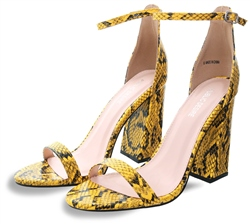 Public Desire Mustard Pointed Barely There Heels