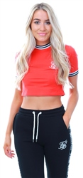 Siksilk Red/Navy Ringer Crop Fitted Tee