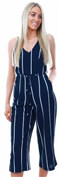 Ax Paris Navy Stripe Culotte Jumpsuit