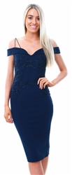 Ax Paris Navy Off The Shoulder Strap Lace Dress