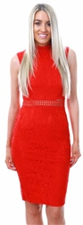 Ax Paris Red Lace High Neck Midi Dress