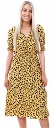 Influence Mustard Dalmatian Print Midi Dress