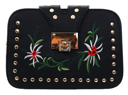 Koko Black Studded Embroidered Side Bag