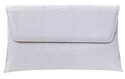 Koko White Snake Textured Clutch Bag