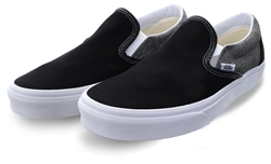 Vans Black/White Chambray Slip-On Shoes