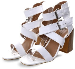 No Doubt White Strappy Block Heel Shoe
