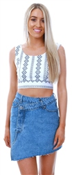 Parisian White/Blue Embroidery Detail Crop Top
