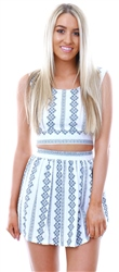 Parisian White/Blue Embroidery Detail Skater Skirt