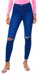 Parisian Blue High Waisted Slit Jeggings