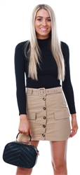 Parisian Camel Button Front Pocket Mini Skirt