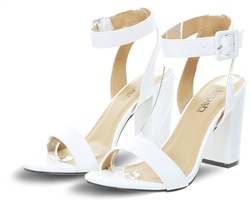 Krush White Pu Block Heel Barely There Shoe