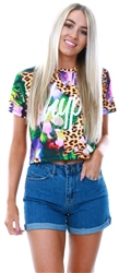 Hype Multi Pattern Jungle Cat Crop T-Shirt