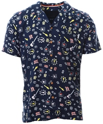 Soulstar Navy Short Sleeve Printed Shirt