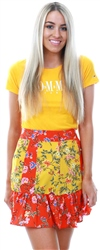 Brave Soul Red/Yellow Gabrielle Mini Floral Skirt