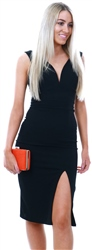 Wal/G Black Deep V Midi Dress