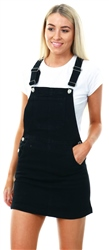 Brave Soul Black Denim Dungaree Dress
