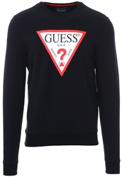 Guess Black Logo Long Sleeve Fleece