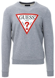 Guess Grey Logo Long Sleeve Fleece