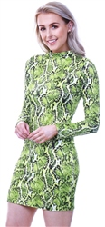 Parisian Neon Green Snake Print Bodycon Dress