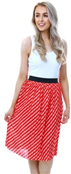 Only Red Printed Midi Skirt