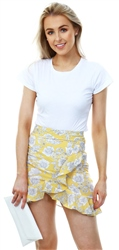 Missi Lond Yellow Floral Frill Wrap Mini Skirt
