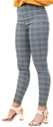 Parisian Grey Check Print Fitted Leggings