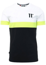 11degrees White/Lime Neo Triple Panel T-Shirt