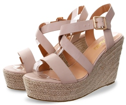 Krush Nude Ankle Strap Wedge Sandal