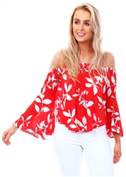 Qed Red/White Floral Bardot Top