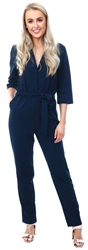 Jdy Navy Cammy Belted Jumpsuit