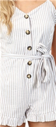 Brave Soul Beige/White Stripe Button Playsuit