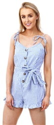 Brave Soul Denim/White Stripe Button Playsuit