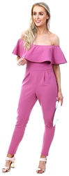 Lexie & Lola Pink Bardot Fitted Jumpsuit