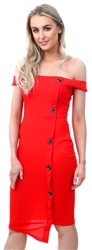 Ax Paris Red Button Front Bardot Dress