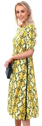 Missi Lond Yellow Snake Print Side Tape Dress