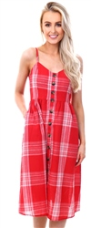 Qed Red Checked Button Up Dress