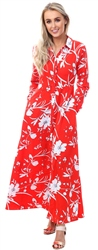 Qed Red Button Up Floral Dress