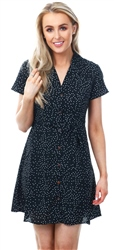 Qed Black Spotted Printed Dress