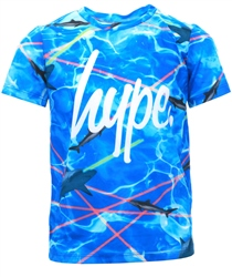 Hype Blue /Multi Laser Shark Script T-Shirt