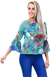 Qed Green Flared Long Sleeve Top