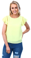 Cutie London Neon Yellow Crochet Frill Top