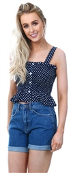 Qed Navy Button Spot Crop Top