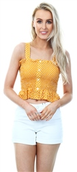 Qed Sunflower Button Spot Crop Top