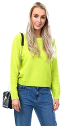 Brave Soul Lime Body Scoop Neck Jumper